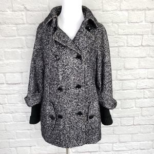Calvin Klein Black Gray Tweed Wool Blend Pea Coat